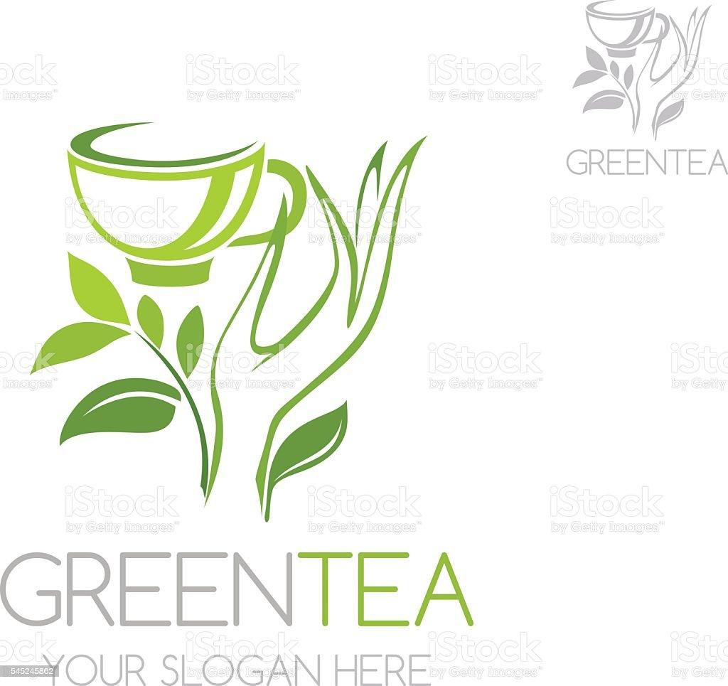 Vintage Adventure Logo: Green Tea Icon Vector Logo Template Stock Illustration