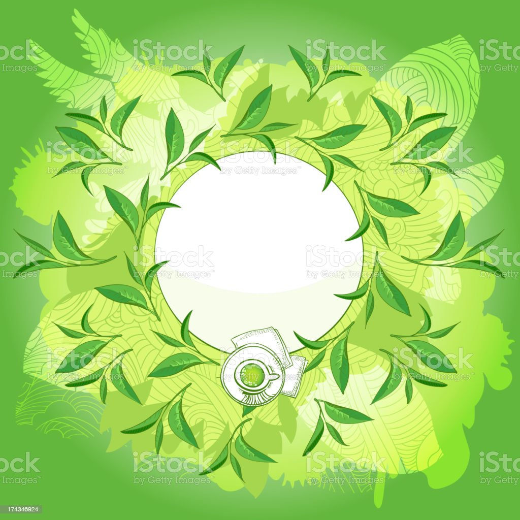 Green Tea label (place for your text) royalty-free stock vector art