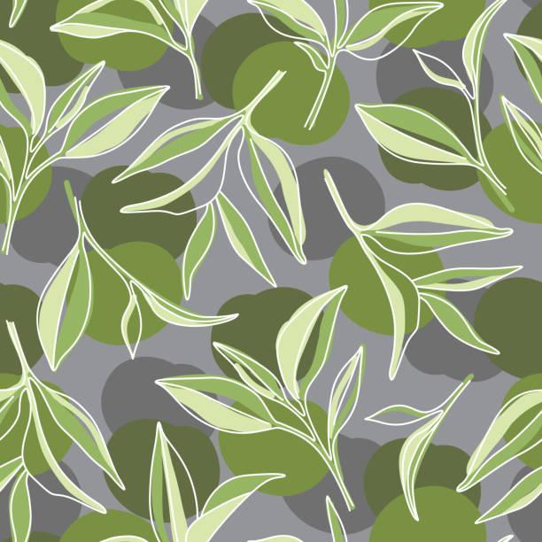 緑茶の葉。灰色の背景の抹茶グラフィックパターン - 抹茶点のイラスト素材/クリップアート素材/マンガ素材/アイコン素材