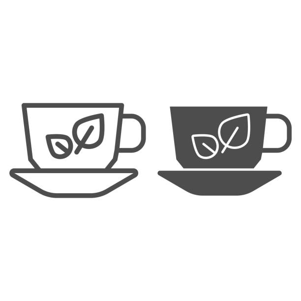 Green tea line and glyph icon. Cup of tea vector illustration isolated on white. Organic tea outline style design, designed for web and app. Eps 10. Green tea line and glyph icon. Cup of tea vector illustration isolated on white. Organic tea outline style design, designed for web and app. Eps 10 alcohol drink silhouettes stock illustrations