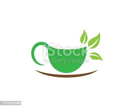 Tea cup logo template vector icon illustration design