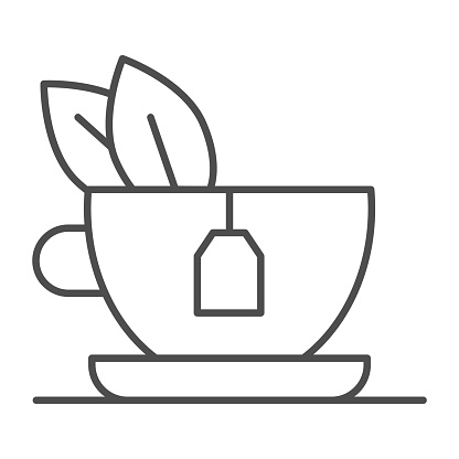 Green tea with mint thin line icon, breakfast concept, Glass mug with tea sign on white background, Tea cup with green fresh mint leaves icon in outline style for mobile and web. Vector graphics.