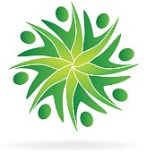 Green teamwork ecology people icon logo vector