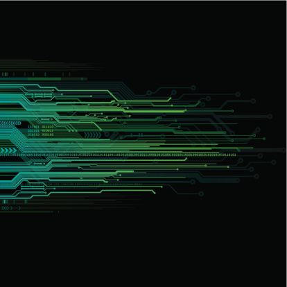Green and blue circuit board technology background