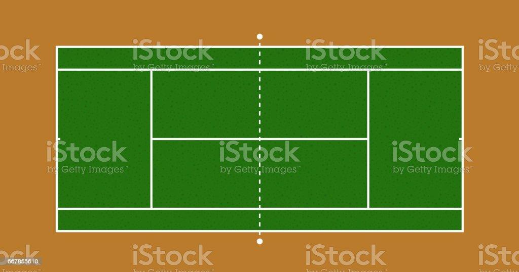 Green Tennis court vector art illustration