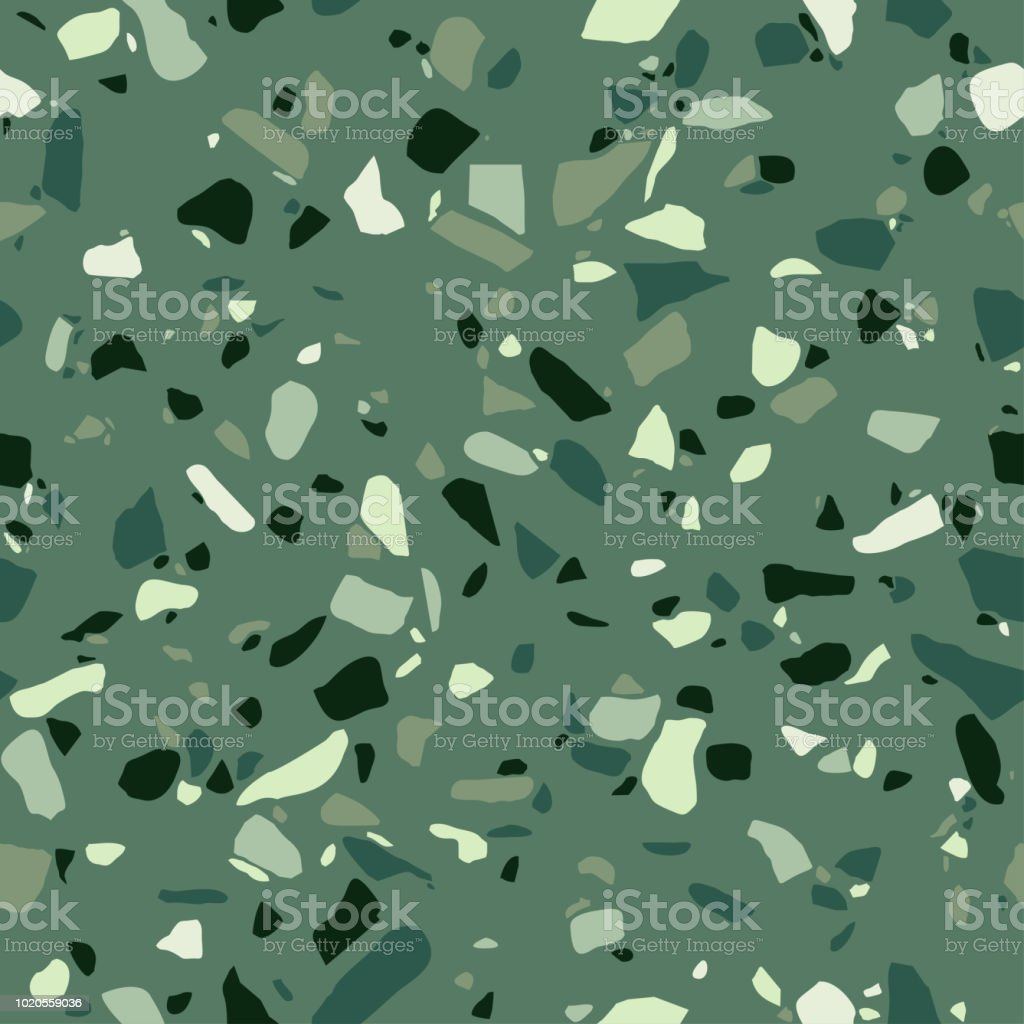 Green Terrazzo Seamless Pattern Surface Texture Of