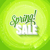 Spring sales. The inscription is surrounded by leaves. Vector illustration