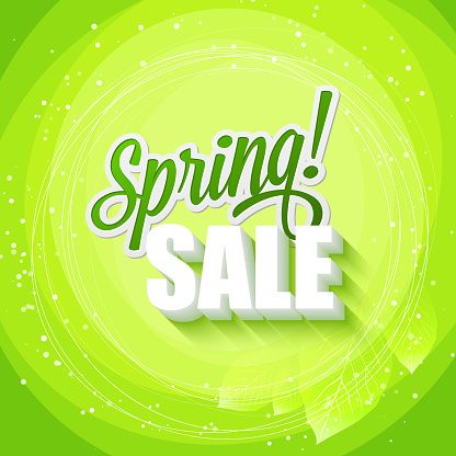 Green text art of Spring Sale on a leafy green background