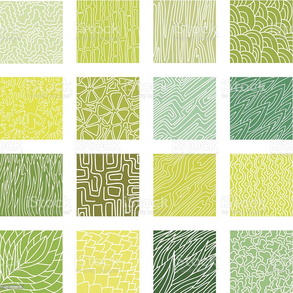 Green textures set vector art illustration