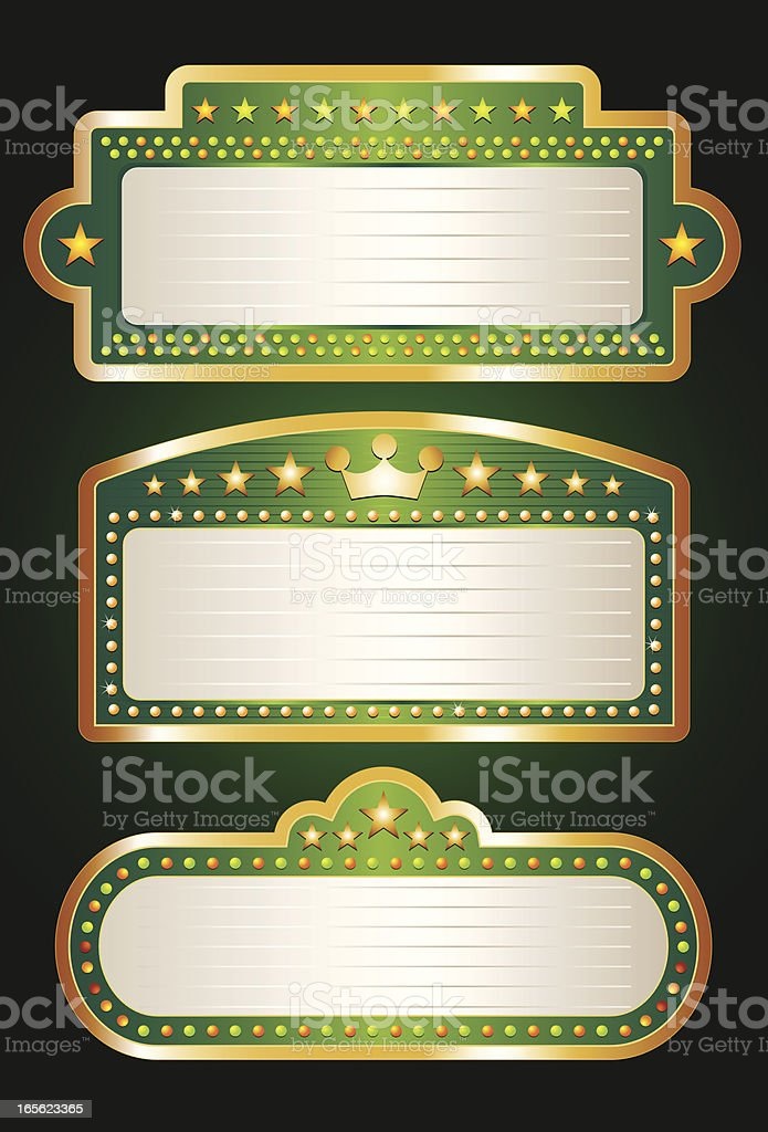 Green Theater Marquee Collection vector art illustration