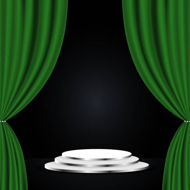 illustrazioni stock, clip art, cartoni animati e icone di tendenza di green theatre curtain - sipario