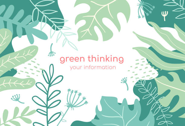 Green thinking - modern flat design style abstract banner vector art illustration