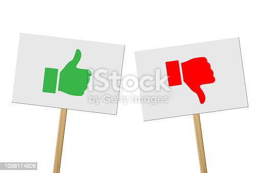 Green Thumb Up and red Thumb Down signs on banners on wood sticks. Vector protest signs with Thumb Up and red Thumb Down symbols isolated on white background