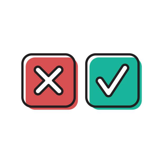 ilustrações de stock, clip art, desenhos animados e ícones de green tick and red cross check marks vector icon isolated on white background - exatidão