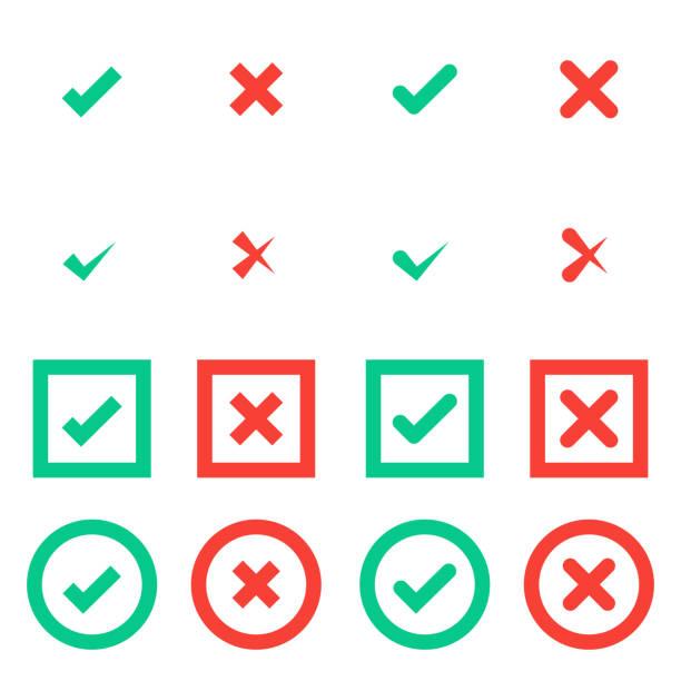 illustrazioni stock, clip art, cartoni animati e icone di tendenza di segni di spunta verdi e croce rossa in icone quadrate e quadrate. - near