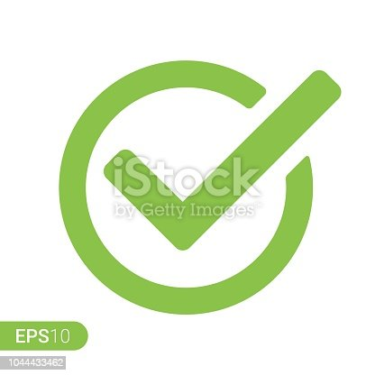 Green tick checkbox vector illustration isolated on white background - stock vector