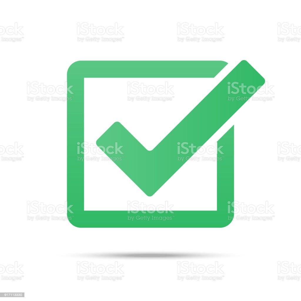 Green tick checkbox vector illustration isolated on white background vector art illustration