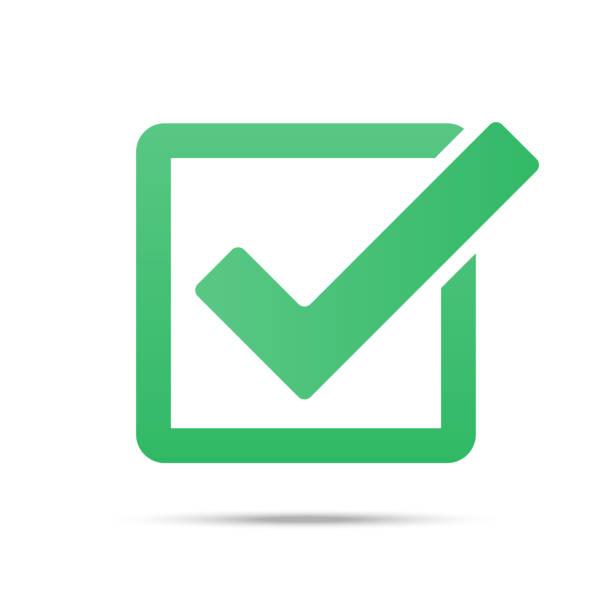 Green tick checkbox vector illustration isolated on white background Green tick checkbox vector illustration isolated on white background accuracy stock illustrations