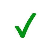 istock Green tick checkmark vector icon for checkbox marker symbol 1079725292