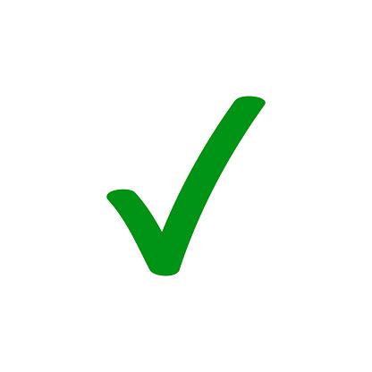 Grüner Haken Haken Vektor Icon Für Kontrollkästchen