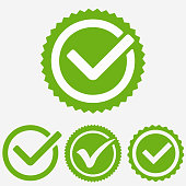 Green tick mark. Check mark icon. Tick sign. Green sign approval isolated on white background. Vector
