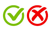 istock Green tick symbol and red cross sign in circle. Icons for evaluation quiz. Vector. 1014351730