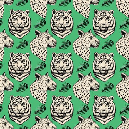 Green Tiger Leopard Seamless Pattern