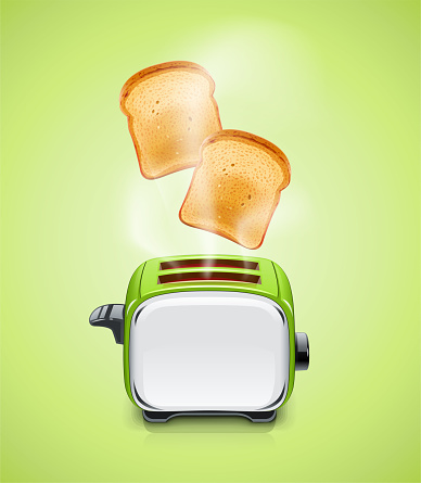 Green Toaster. Kitchen equipment for roast bread.