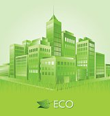 Green eco town suitable for ecologic purposes