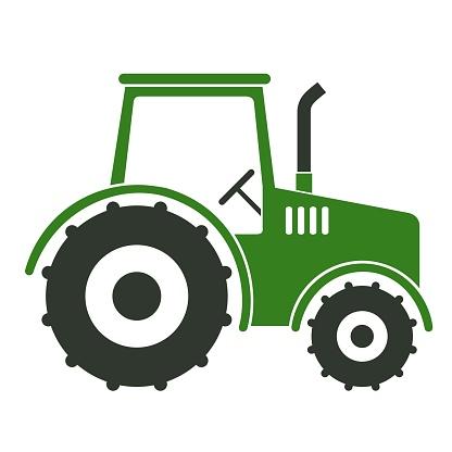 Green and black tractor stencil art.