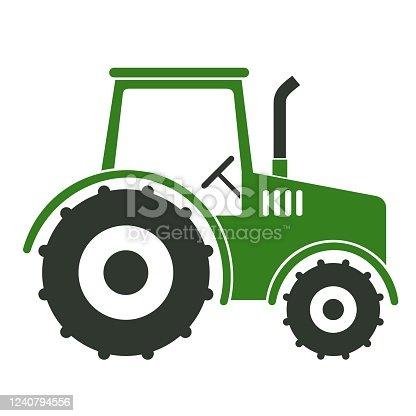 istock Green Tractor Stencil Vector Illustration 1240794556