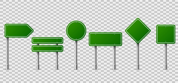 Green traffic signs. Blank horizontal warning danger way destination and stop city signage on metal steel pole