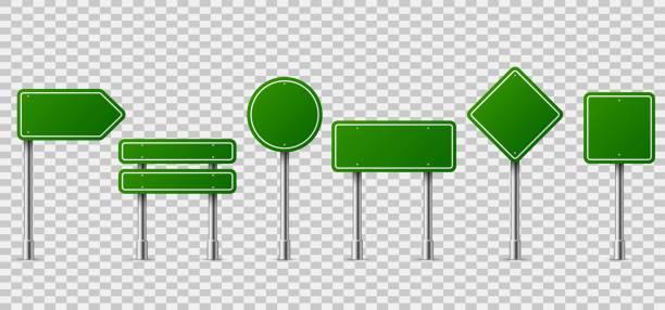 bildbanksillustrationer, clip art samt tecknat material och ikoner med gröna trafikskyltar. tom horisontella varning fara sätt destination och stoppa city skyltning på metall stål stång - stock arrow