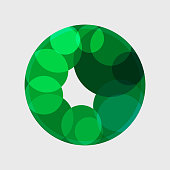 green transparency circle with curve pattern for design