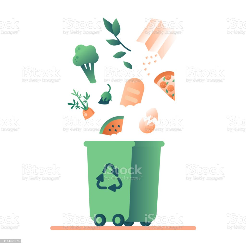 Green trash can and falling organic waste Green trash can and falling organic waste (vegetables, paper, leaves, food) for composting. Waste recycling management concept for bio,ecology,environment protection. Vector illustration Biodegradable stock vector