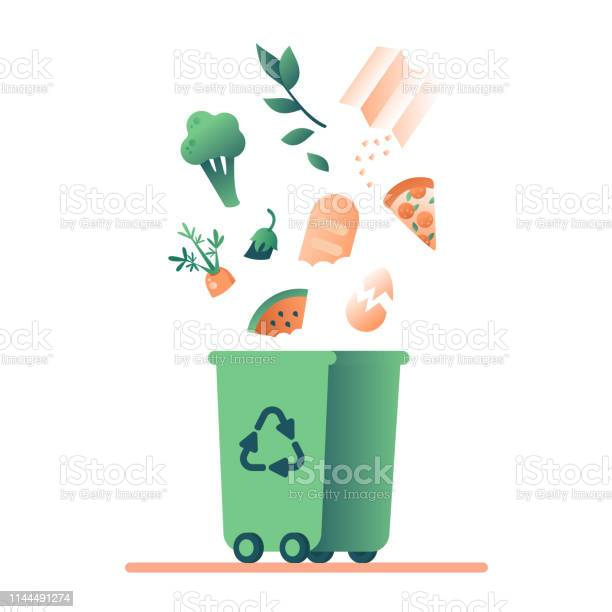 Green Trash Can And Falling Organic Waste Stock Illustration - Download Image Now