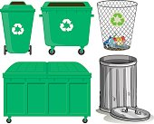 Green trashcans with recycle sign