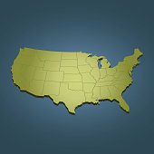 USA green travel map on dark background in perspective view