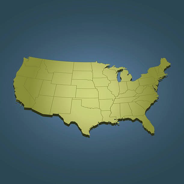 USA green travel map on dark background in perspective view USA green map on dark blue background. Good for your presentations, websites and for printing. the bigger picture stock illustrations