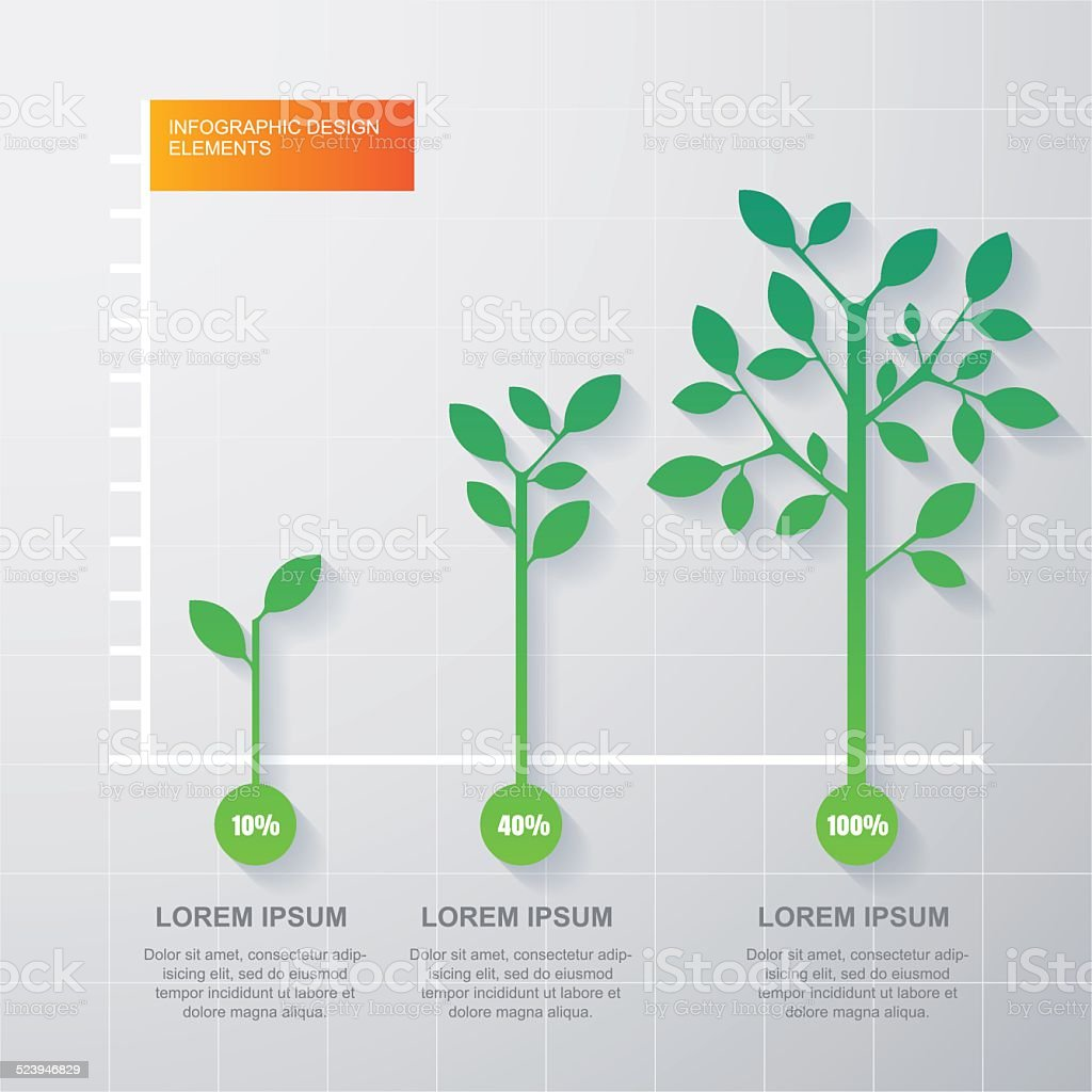 Green tree and plant diagram infographics template. Vector illustration vector art illustration