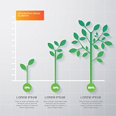 Green tree and plant diagram infographics template. Vector illustration