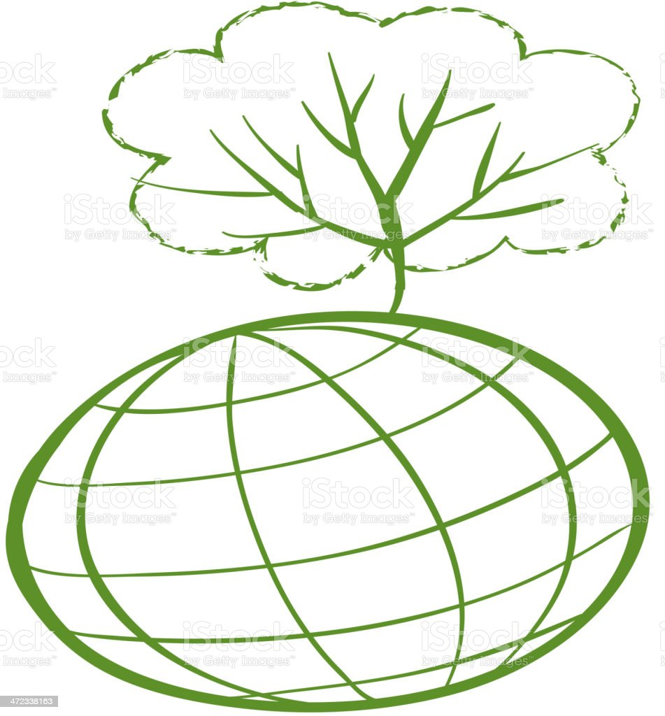 green tree at the top of a globe royalty-free stock vector art