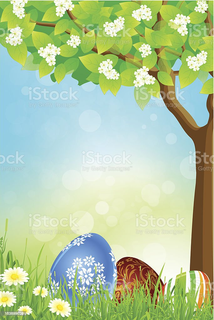 Green Tree Background with Easter Eggs royalty-free stock vector art