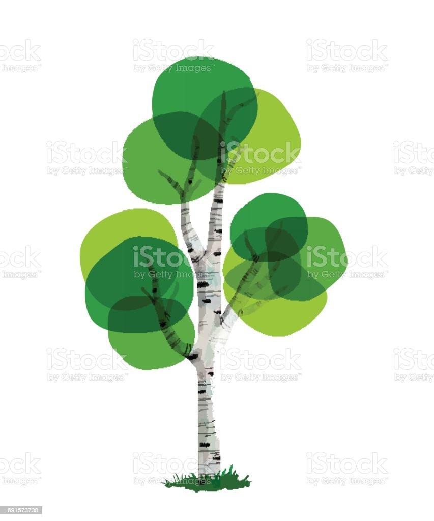 Green tree concept illustration hand drawn style vector art illustration