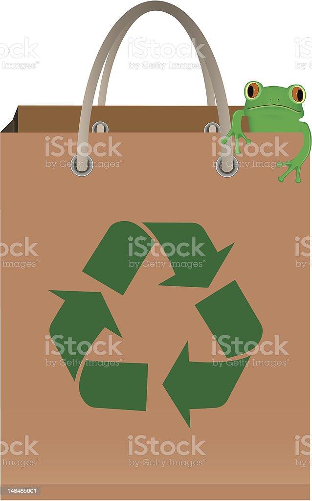 Rana Di Albero Verde Seduto Su Carta Con Simbolo Riciclo Immagini