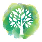 Vector of green tree icon on watercolor background. EPS Ai 10 file format.