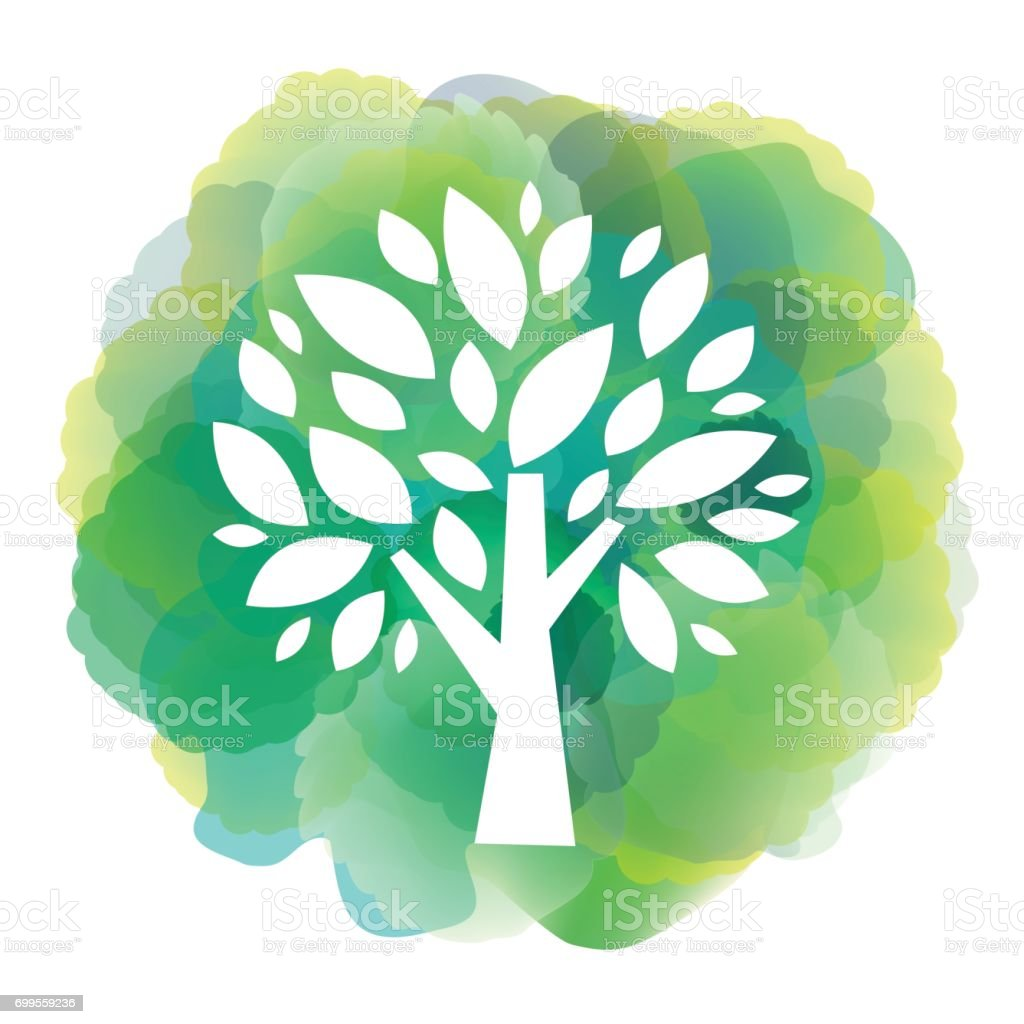 Green tree icon on watercolor background vector art illustration