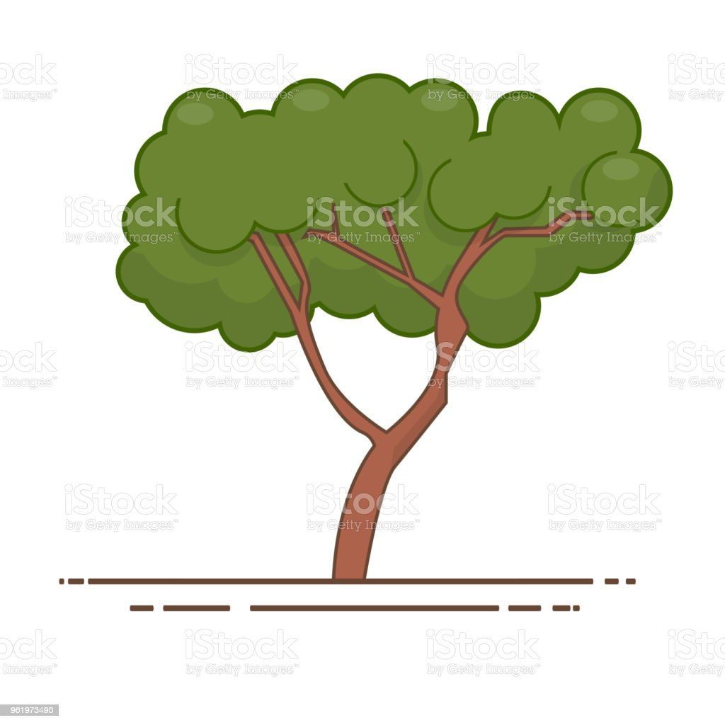Green Tree Icon Vector Line Color Nature Symbol Isolated Stock ...