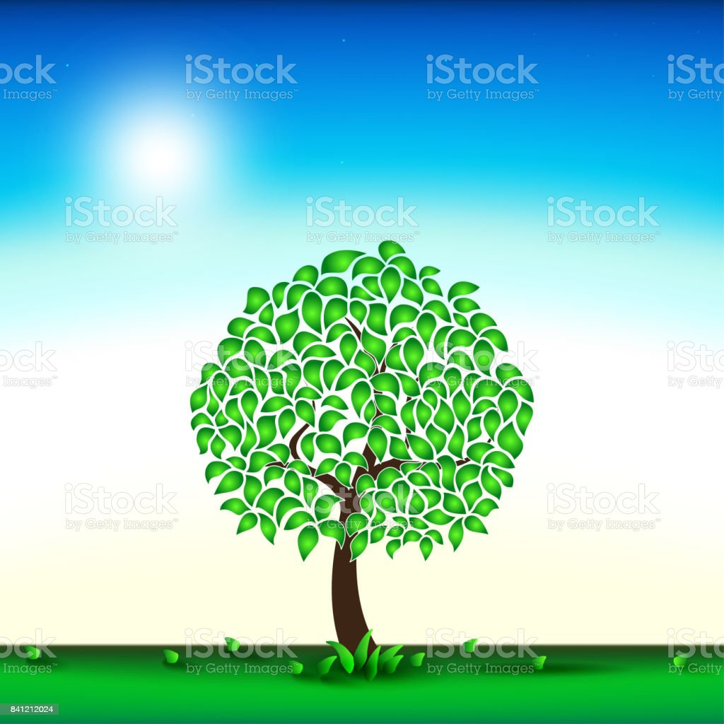 Green tree in the background. Summer day. Meadow. Vector illustration vector art illustration