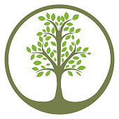 Vector tree , abstract organic design element, eco and bio circle badge